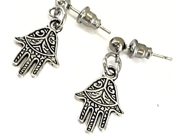 Hamsa Earrings, Hand Of Fatima Earrings, Silver Earrings, Hamsa Jewelry Gift For Her, Protection Gift, Protection Earrings, Hamsa Charm Gift