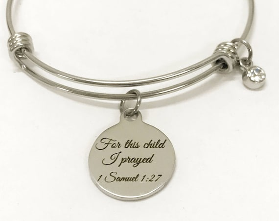 For This Child I Prayed Bracelet, 1 Samuel 1:27 Bracelet, New Mom Bracelet, New Mother Gift, Mother's Birthstone Bracelet Gift, New Mom Gift
