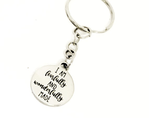 Christian Gift, Christian Keychain, I Am Fearfully And Wonderfully Made Keychain, Daughter Gift, Christian Charm, Religious Gift, New Car