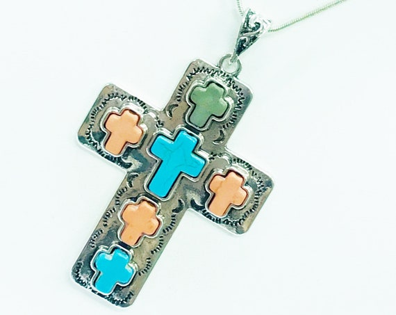 Large Cross Pendant Necklace, Southwestern Style Cross, Christian Cowgirl Style, Statement Necklace, Christian Jewelry Gift, Wife Jewelry