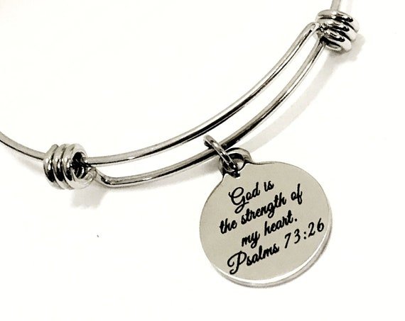 God Is The Strength Of My Heart Expanding Bangle Charm Bracelet, Scripture Stacking Bracelet, Psalm 73 26 Bible Verse Jewelry