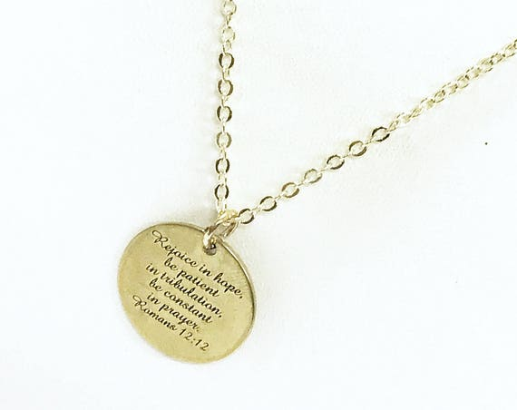 Scripture Gifts, Rejoice In Hope Necklace, Christian Necklace Gifts, Scripture Necklace, Bible Verse Gifts, Romans 12:12 Scripture Verse