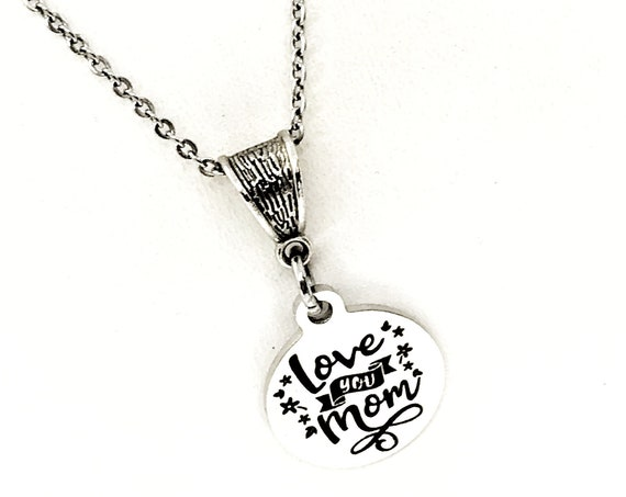 Mom Gift, Love You Mom Necklace, Mom Jewelry, New Mom Gift, New Mother Gift, Gift For Mom, Mom Birthday, Wife Gift, Gift From Kids