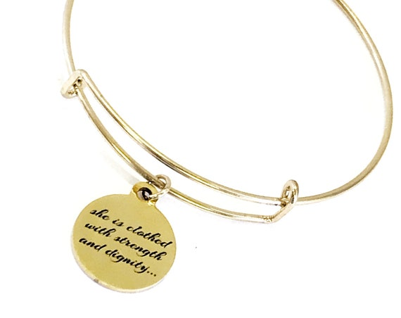 Christian Bracelet, Christian Woman Gift, Christian Daughter, She Is Clothed With Strength And Dignity Bracelet, Proverbs 31 25 Bracelet