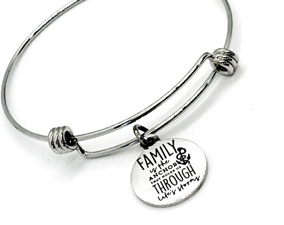 Family Bracelet, Family Quote, Family Is Our Anchor Bracelet, Stacking Bracelet, Family Holds Us Through Life's Storms, Sympathy Gift