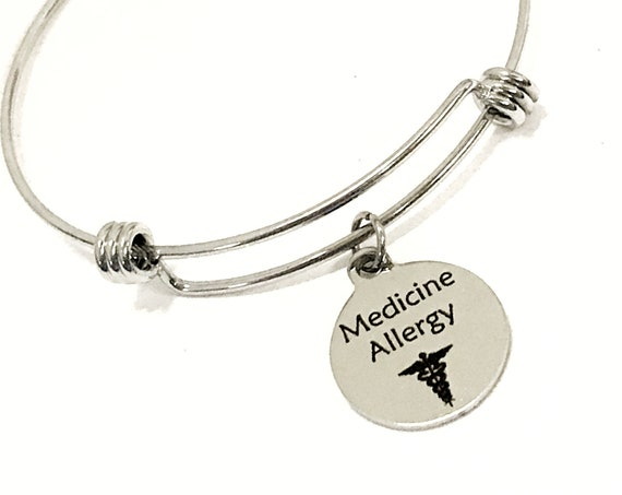 Medicine Allergy Medical Charm Bracelet, Medicine Allergy Awareness Jewelry, Medicine Allergy Notification, Medical Awareness, Caduceus