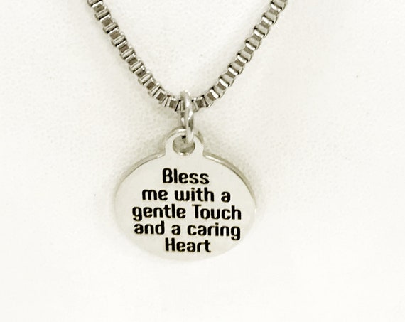 Nurse Necklace, Nurse Prayer Necklace, Bless Me With A Gentle Touch And A Caring Heart Necklace, Nurse Gift, Male Nurse, Gift For Him