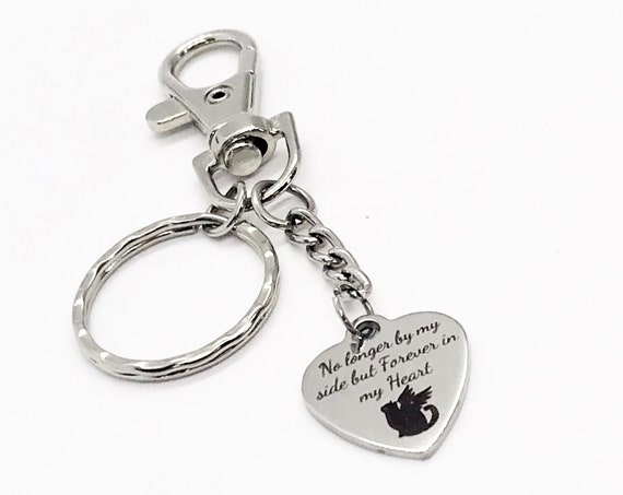 Cat Memorial Gift, No Longer By My Side But Forever In My Heart Keychain, Cat Loss Sympathy Gift, Cat Mom Gift, Cat Passing Gift