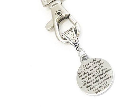 Christian Keychain, Peace In The Lord Keychain, He Has Overcome The World, John 16 Verse 33, Christian Gifts, Christian Charm, Keychain Gift