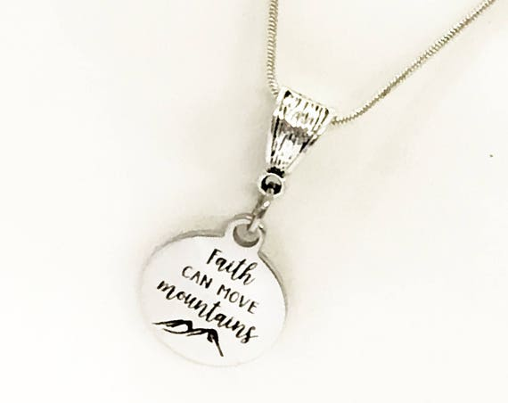 Faith Jewelry Gifts, Faith Can Move Mountains Silver Necklace, Encouragement Jewelry Gift, Encouraging Gift, Faith Gift For Her, Motivating