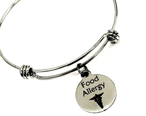 Food Allergy Medical Charm Bracelet, Food Allergy Awareness Jewelry, Food Allergy Notification, Medical Awareness, Caduceus