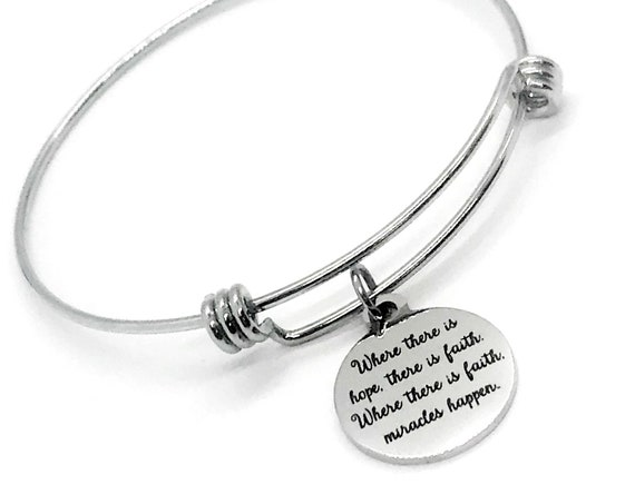 Charm Bracelet, Hope Faith And Miracles Bracelet, Expanding Bangle, Stacking Bracelet, Motivating Quote, Encouraging Gift, Daughter Gift