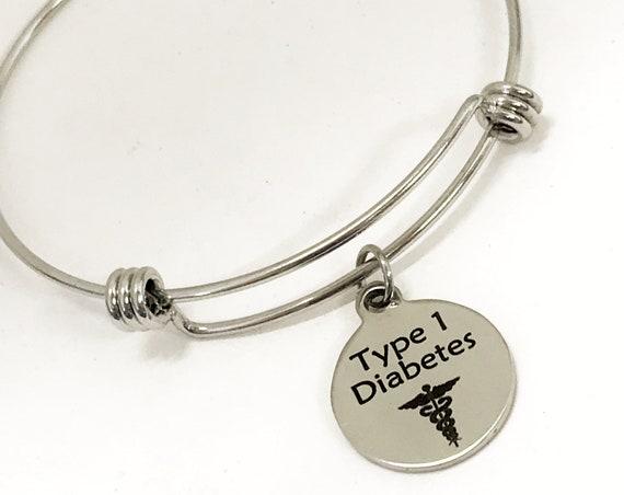 Type 1 Diabetes Medical Charm Bracelet, Diabetes Awareness, Diabetes Jewelry, Medical Notification, Medical Awareness, Medical Caduceus