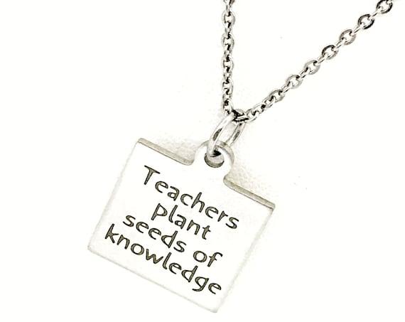 Teacher Gift, Back To School, Teachers Plant Seeds of Knowledge, New Teacher, Gift For Teacher, Gift For Her, Teacher Necklace