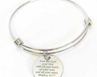 Love The Lord Your God With All Your Heart, All Your Soul, and All Your Mind Expanding Bangle Charm Bracelet, Matt 22:37 Scripture Bracelet