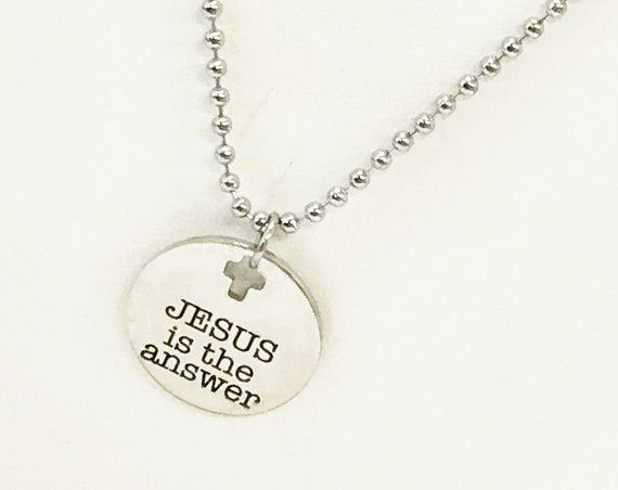 Christian Necklace, Jesus Is The Answer Necklace, Son Gift, Baptism Gift, Christian Gift, Christian Jewelry Gift, Gift For Him, Gift For Her