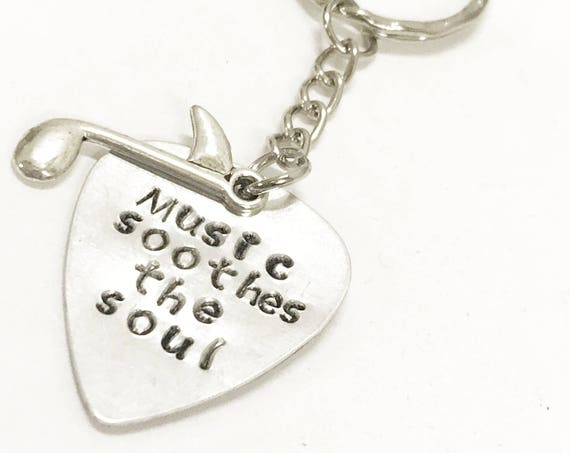 Music Lover Gift, Music Soothes The Soul Keychain, Music Lover Keychain, Guitar Player Gift, Gift For Music Lover, Gift For Guitar Player