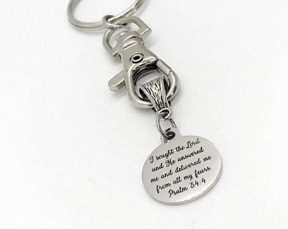 Christian Gift, Christian Keychain, I Sought The Lord And He Delivered Me, Psalm 34 4 Keychain, Scripture Keychain, Bible Verse Gift