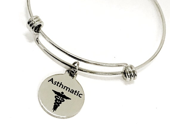Asthmatic Medical Charm Bracelet, Asthmatic Awareness, Asthmatic Jewelry, Medical Notification, Medical Awareness, Medical Caduceus