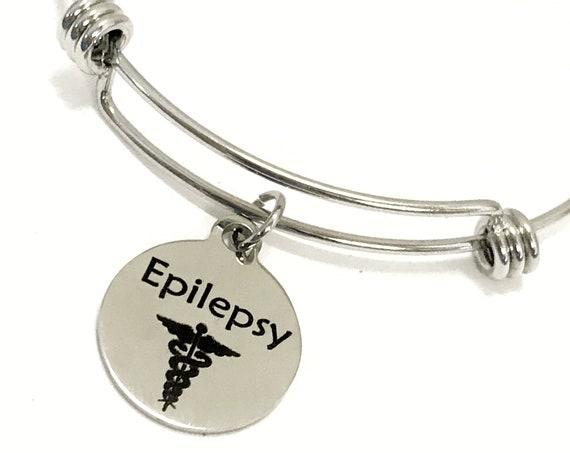 Epilepsy Medical Charm Bracelet, Epilepsy Awareness, Epilepsy Jewelry, Medical Notification, Medical Awareness, Medical Caduceus Symbol