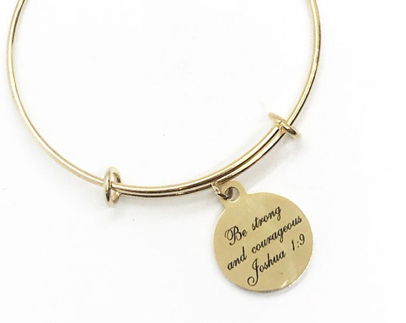 Be Strong And Courageous Bracelet, Christian Bracelet, Scripture Bracelet, Joshua 1 9 Charm, Encouraging Gift, Scripture Jewelry Gift