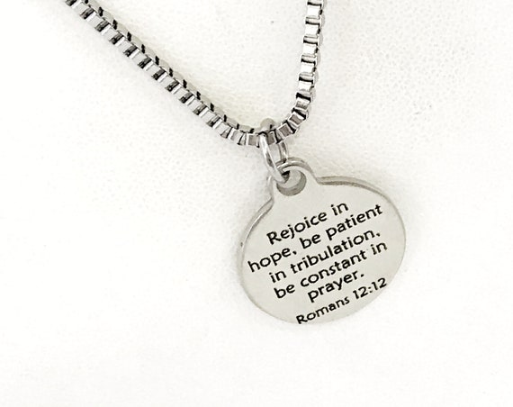 Bible Verse Jewelry, Rejoice In Hope, Romans 12 12 Bible Verse Necklace, Bible Verse Gift For Him, Christian Jewelry, Scripture Jewelry Gift