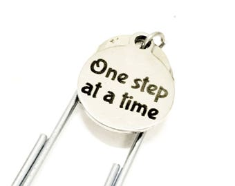 One Step At A Time Bookmark, One Step At A Time Paper Clip Bookmark, Planner Paper Clip Bookmark, Encouragement Gifts, Motivating Bookmark