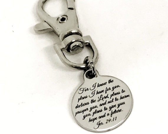 Bag Charm, Purse Charm, For I Know The Plans I Have For You Charm, Jeremiah 29 11 Charm, Scripture Quote, Planner Charm, Christian Gift