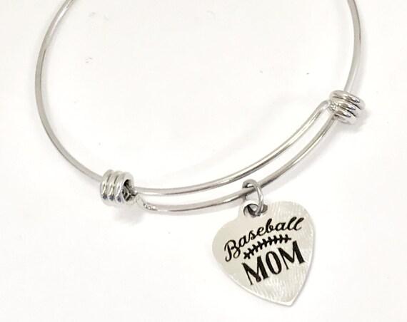 Charm Bracelet, Baseball Mom Bracelet, Expanding Bangle, Charm Bangle, Baseball Mom Jewelry, Sports Mom Bracelet, Baseball Mom Charm