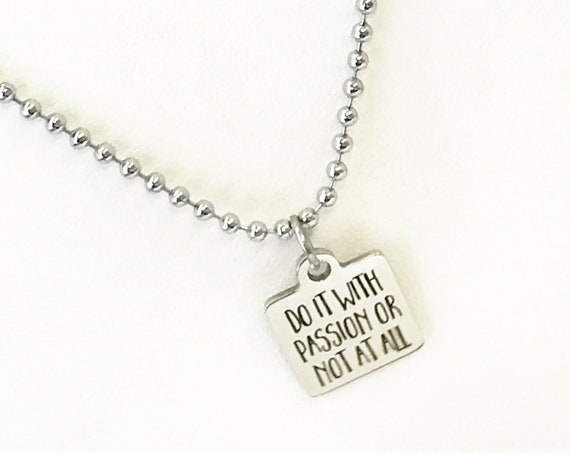 Encouraging Gift, Do It With Passion Necklace, Encouraging Jewelry, Encouraging Necklace, Success Gifts, Motivating Gift, Success Quotes