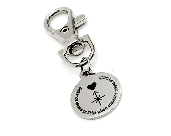 Bag Charm, Distance Means So Little When Someone Means So Much Keychain Charm, Long Distance Love, Long Distance Friends, Back Pack Charm