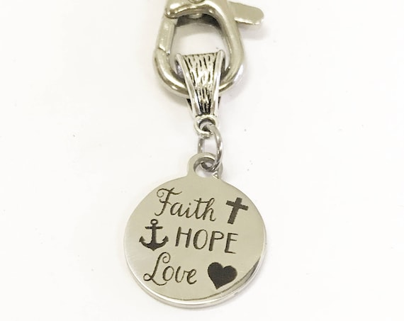 Faith Hope Love Keychain, Spiritual Gifts, 1 Cor 13 Scripture Gifts, Daughter Gift, Christian Keychain, Baptism Gift, Confirmation Gift