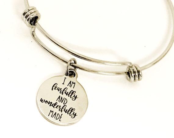 I Am FearFully And Wonderfully Made Bracelet, Scripture Bracelet, Christian Bracelet, Daughter Gift, Customizable Gift, Bible Verse Gift