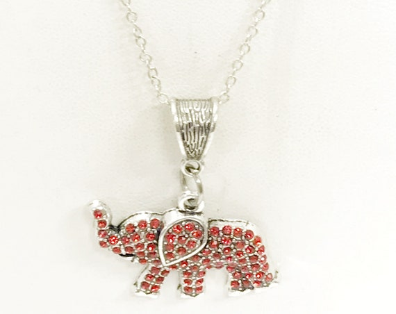 Good Luck Jewelry, Red Elephant Necklace, Good Luck Necklace, Red Elephant Jewelry, Good Luck Charm, Wishing You Good Luck, Elephant Gifts
