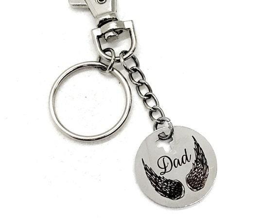 Dad Memorial, Dad Is My Angel Keychain, Dad Angel Wings, Remembering Dad, Loss Of Dad, Death Of Dad, Sympathy Gift