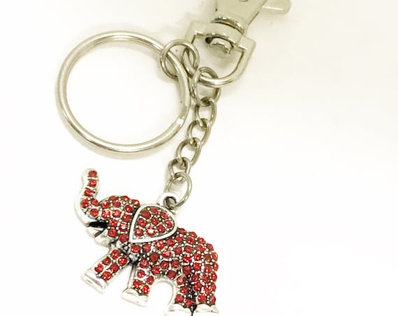 Red Elephant Keychain, Red Elephant Gift, Crystal Red Elephant, Clip On Keychain, Keychain Gift, Power Keychain Gift, Remember Me Gift
