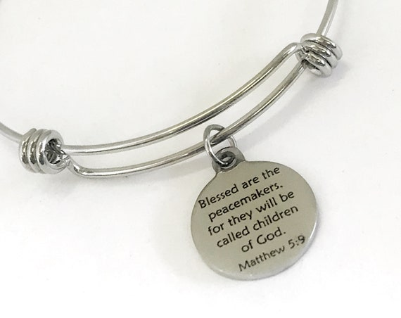 Christian Gift, Police Officer Gift, Blessed Are The Peacemakers Bracelet, Christian Jewelry, Beatitudes Jewelry, Christian Police Officer