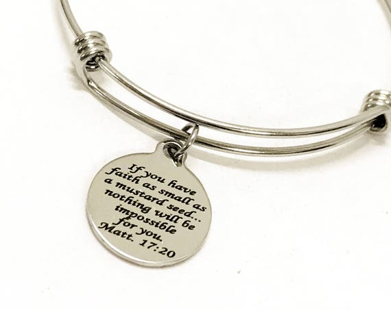 Scripture Bracelet, Matthew 17 20 Bracelet, Mustard Seed Faith Bracelet, Scripture Gifts, Bible Verse Gifts, Bible Verse Bracelet Gift