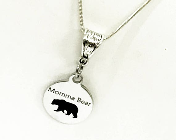 Momma Bear Necklace, Mama Bear Jewelry, Momma Bear Pendant Necklace, Gift For Mom, New Mom Gift, Mama Bear Gift, Momma Bear Gift For Her