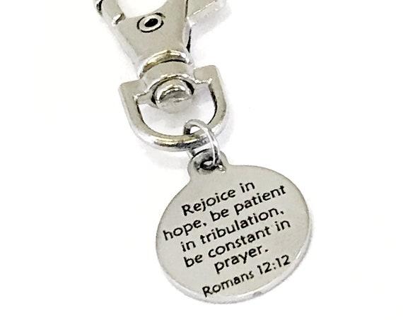 Christian Charm, Romans 12 12 Charm, Scripture Charm, Christian Gifts, Rejoice In Hope Scripture, Christian Bag Charm, Bible Bag Charm