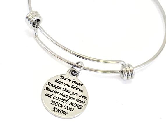Charm Bracelet, Braver Stronger Smarter Loved Bracelet, Expanding Bangle, Charm Bangle, Daughter Jewelry, Daughter Bracelet, Stainless Charm