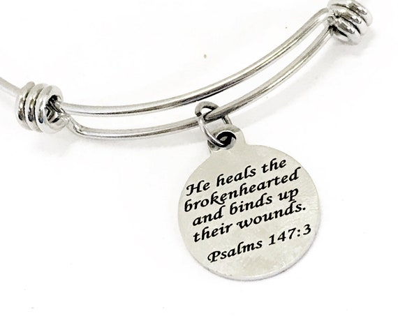 He Heals The Brokenhearted Bracelet, Stacking Bangle, Stacking Bracelet, Charm Bracelet, Christian Scripture Bracelet, Bible Verse Bracelet