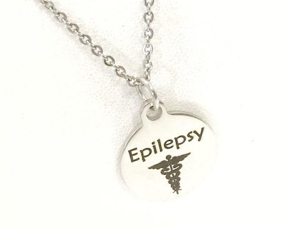 Epilepsy Necklace, Epilepsy Medical Necklace, Epilepsy Awareness Engraved Pendant Necklace, Medical ID Jewelry, Medical Caduceus