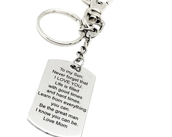 Son Gift, To My Son, Love Mom Keychain, Son Keychain Gift, Be A Great Man, Son Encouragement, Motivation Gift, Motivation Quote For Son