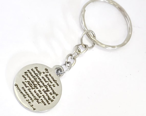 Wedding Gift, New Home Gift, New House Keychain, Christian Home Keychain, Marriage Keychain,  First Home Gift, New House Gift, New Home