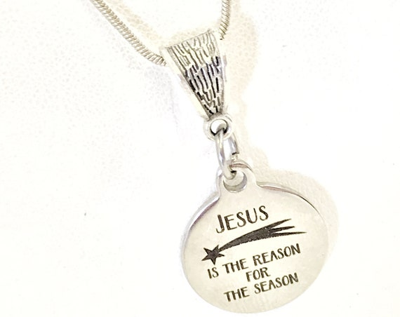Christmas Necklace, Christmas Jewelry, Christmas Gift, Jesus Is The Reason For The Season Necklace, Christian Necklace Gift For Her