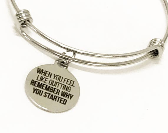 Encouragement Gift, Remember Why You Started Bracelet, Stacking Bangle, Encouragement Jewelry, Encouragement Bracelet, New Year Resolution