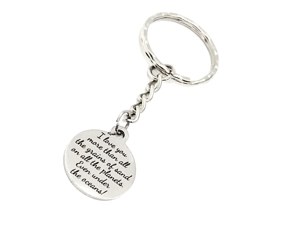Love Gift, I Love You More Keychain, Than All The Grains Of Sand, Love Quote, Daughter Gift, Son Gift, Husband Gift, Wife Gift, Love Charm