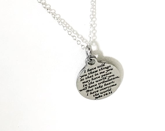 Scripture Necklace, Scripture Jewelry, Peace In The Lord Necklace, John 16 33 Necklace, Scripture Charm, Bible Verse Gift, Christian Gift