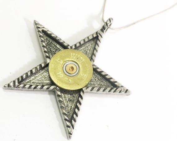 Shotgun Shell Jewelry, Shooting Jewelry, Star Necklace, Shotgun Shell Necklace, Star Jewelry, Shooting Star Necklace, Shotgun Shell Gifts
